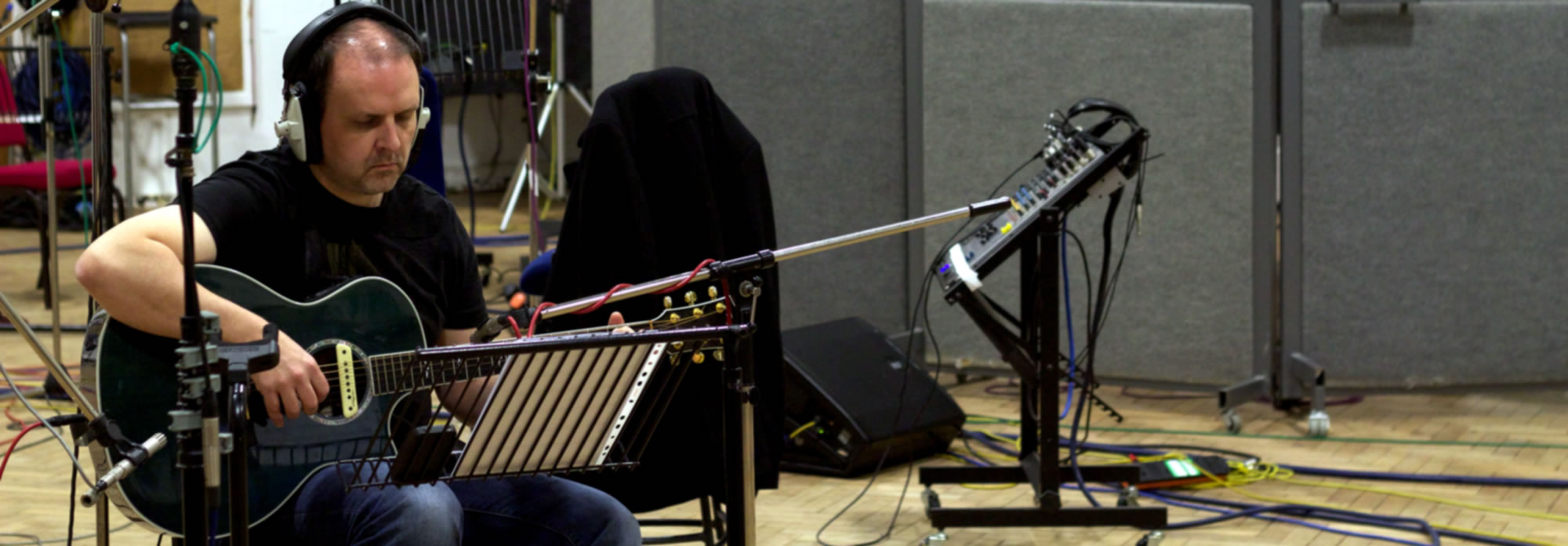 Session guitarist John Wallace recording at Abbey Road, Studio 2